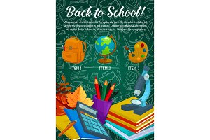 Back to School vector stationery sale poster