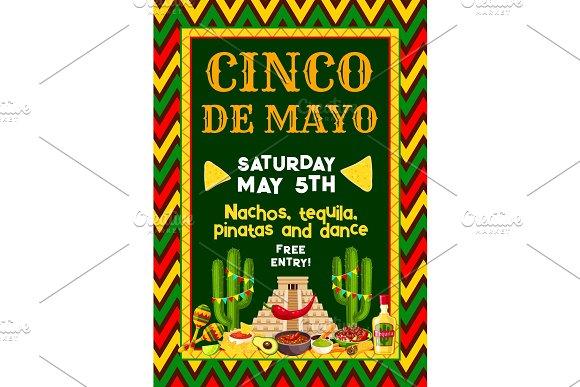 Vector Mexican Cinco De Mayo Party Fiesta Flyer