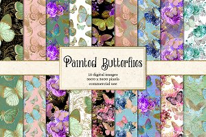 Painted Butterflies Digital Paper