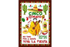 Mexican vector poster for Cinco de Mayo holiday