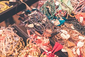 Women bijouterie accessories in the store. Bali island.