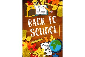 Back to School vector lesson stationery poster