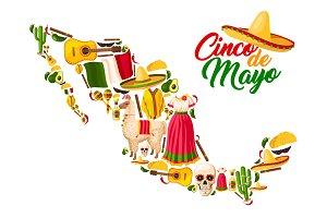 Mexican map with Cinco de Mayo holiday symbols