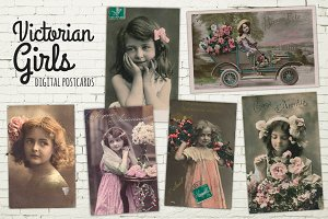 Victorian Girl Photo Postcards