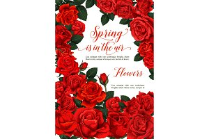 Vector spring roses flowers love greeting card