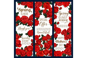 Vector spring flowers Mother Day greeting banners