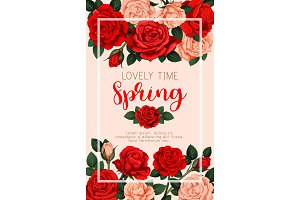 Spring vector banner with roses