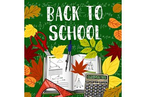 Back to School books and chalkboard vector poster
