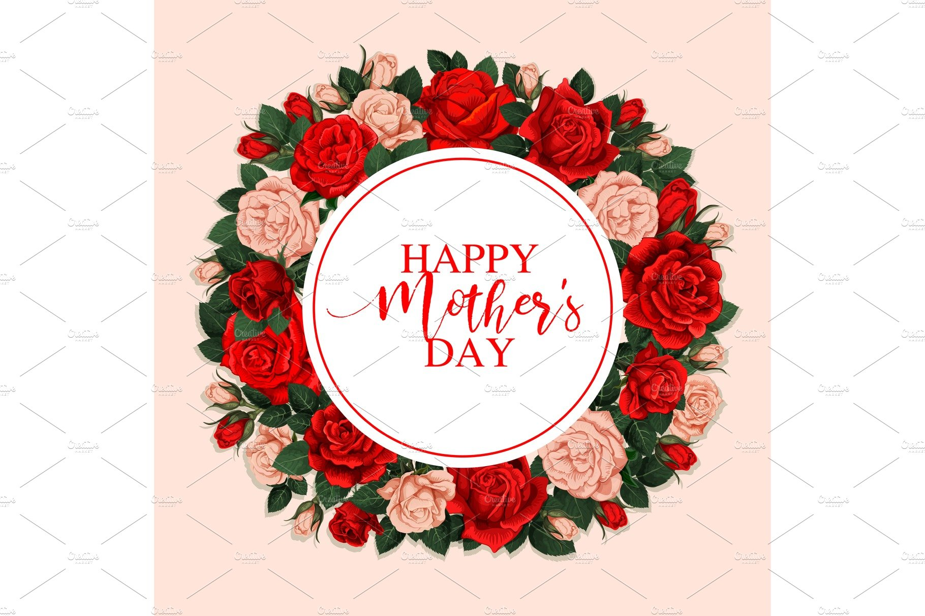 Happy Mother Day Greeting Card With Floral Frame Illustrations