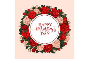 Happy Mother Day greeting card with floral frame