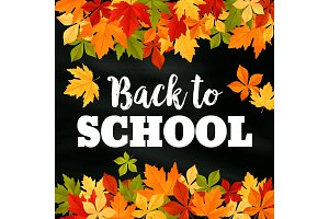 Back to School vector autumn leaf foliage poster