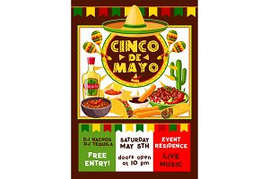 Vector Mexican Cinco de Mayo party invitation