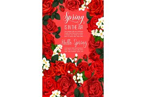Vector springtime floral red roses poster