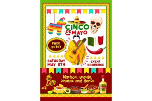 Vector Mexican Cinco de Mayo party invitation card