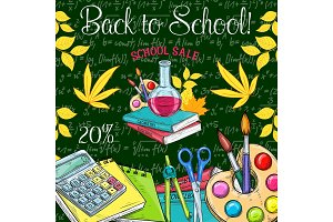 Back to School vector sale promo sketch poster