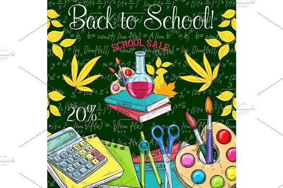 Back To School Vector Sale Promo Sketch Poster