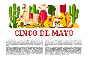 Mexican Cinco de Mayo holiday fiesta vector poster