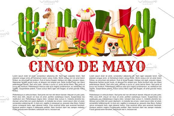 Mexican Cinco De Mayo Holiday Fiesta Vector Poster