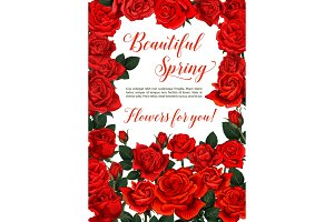 Vector spring flowers greeting card