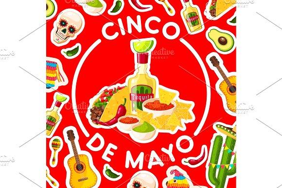 Cinco De Mayo Card With Mexican Fiesta Party Food