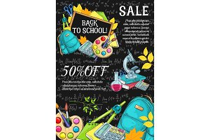 Back to School vector autumn sale sketch poster