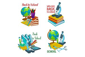 Back to school icon with education supplies
