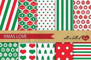 Christmas Background Paper Red Green