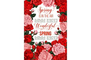Vector springtime red flowers greeting card