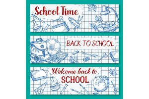 Back to School vector sketch stationery banner