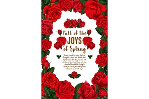 Vector springtime floral red roses bunch poster