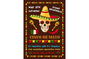 Vector flyer of Mexican Cinco de Mayo fiesta party
