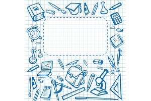 School vector stationery poster copybook stationery