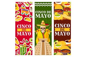 Cinco de Mayo Mexican vector greeting banners