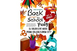 Back to School vector party invitation poster