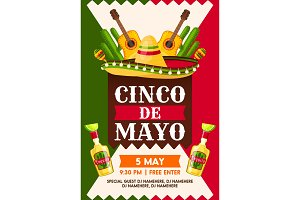 Mexican Cinco de Mayo holiday fiesta party banner