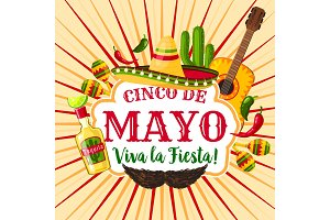 Cinco de Mayo mexican holiday greeting poster