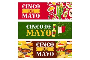 Mexican Cinco de Mayo holiday food greeting banner