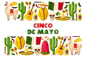 Cinco de Mayo holiday Mexican vector greeting card