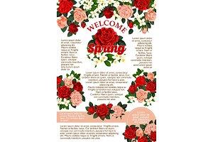 Vector rose flowers poster for spring season