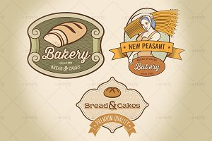 Set of rural bakery labels (3x)