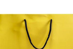 Yellow paper shopping bag