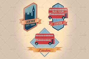 Retro-styled London tour labels (3x)