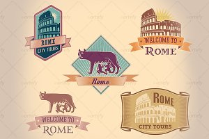 Retro-styled Rome tour labels (5x)
