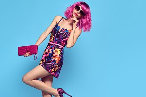 Fashion woman with Pink Hair, Trendy
