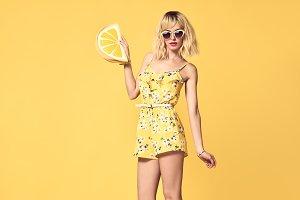 Fashion model Blond girl. Summer Yel