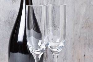 Champagne glasses with bottle