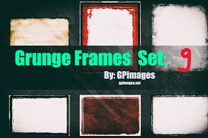 Grunge retro style frames set