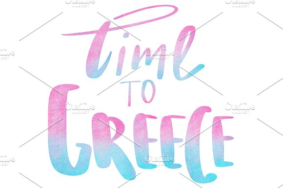 Lettering Time to Greece. in Objects