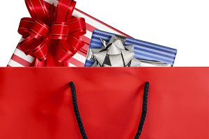 Red shopping bag and gift box
