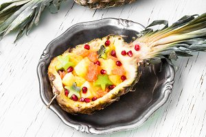 Mix tropical fruit in pineapple